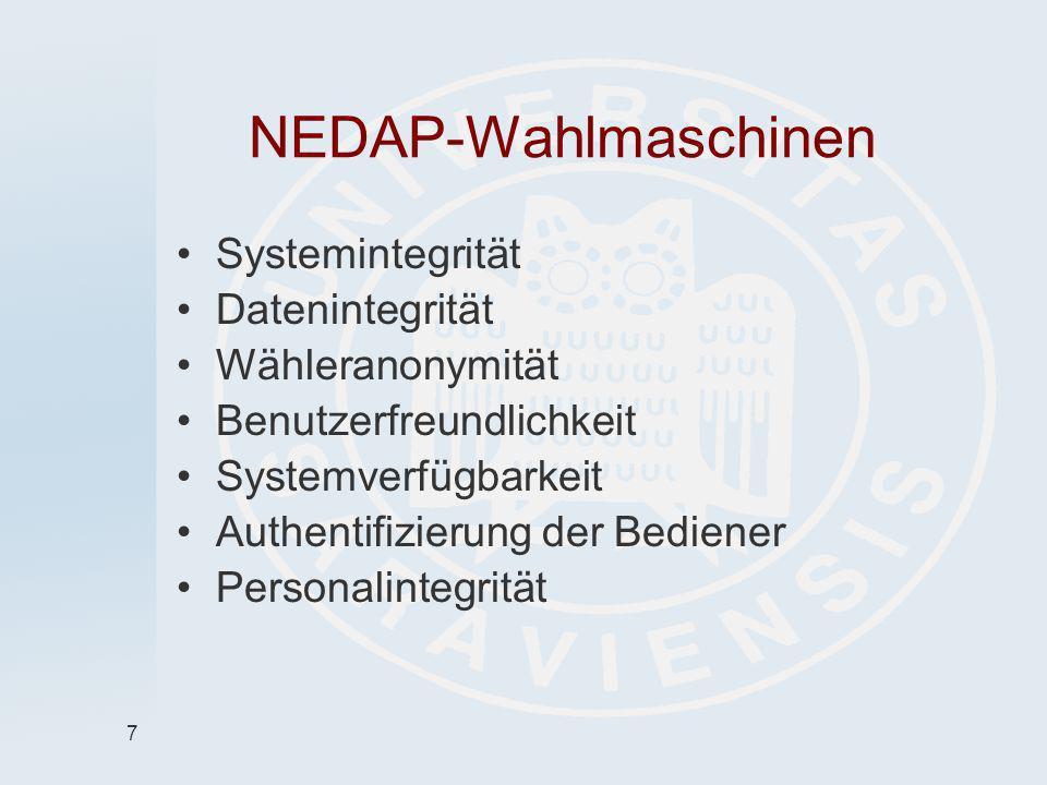 NEDAP-Wahlmaschinen Systemintegrität Datenintegrität Wähleranonymität