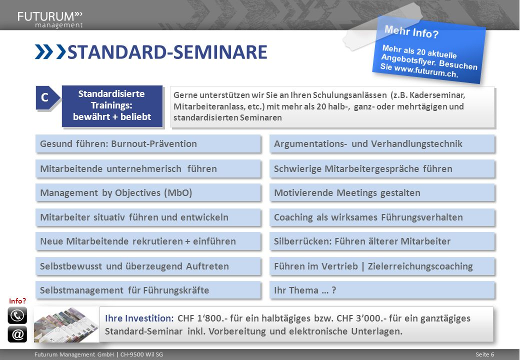 Standardisierte Trainings: bewährt + beliebt