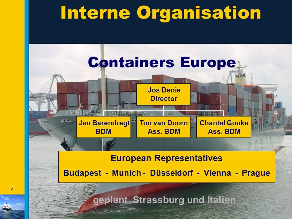 Interne Organisation Containers Europe geplant Strassburg und Italien