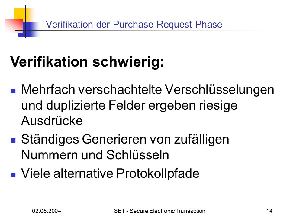 Verifikation der Purchase Request Phase