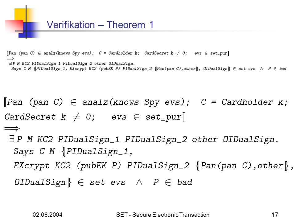 Verifikation – Theorem 1