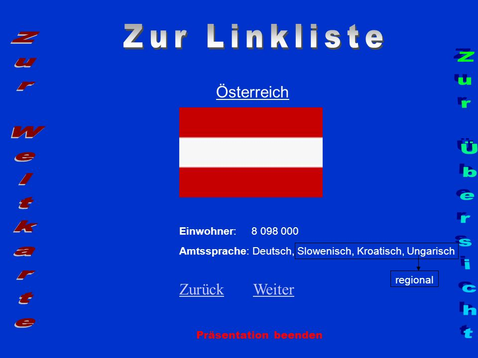 Zur Linkliste Zur Weltkarte Zur Übersicht Österreich Zurück Weiter