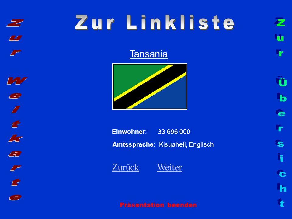 Zur Linkliste Zur Weltkarte Zur Übersicht Tansania Zurück Weiter