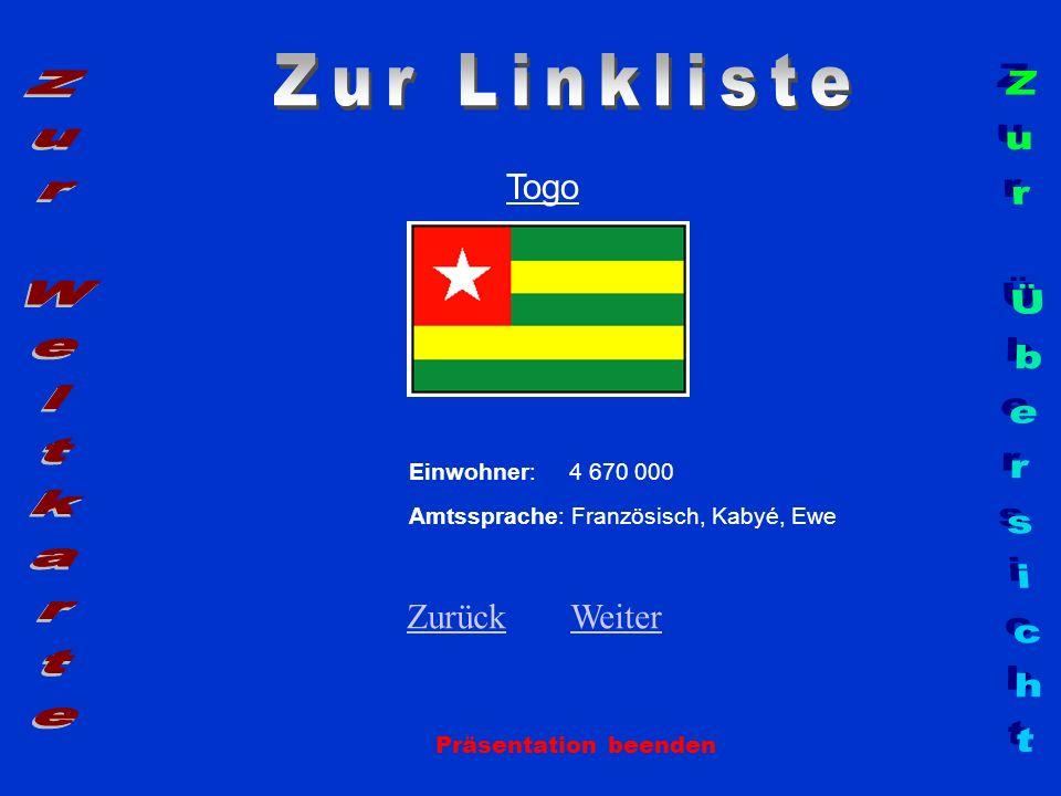Zur Linkliste Zur Weltkarte Zur Übersicht Togo Zurück Weiter