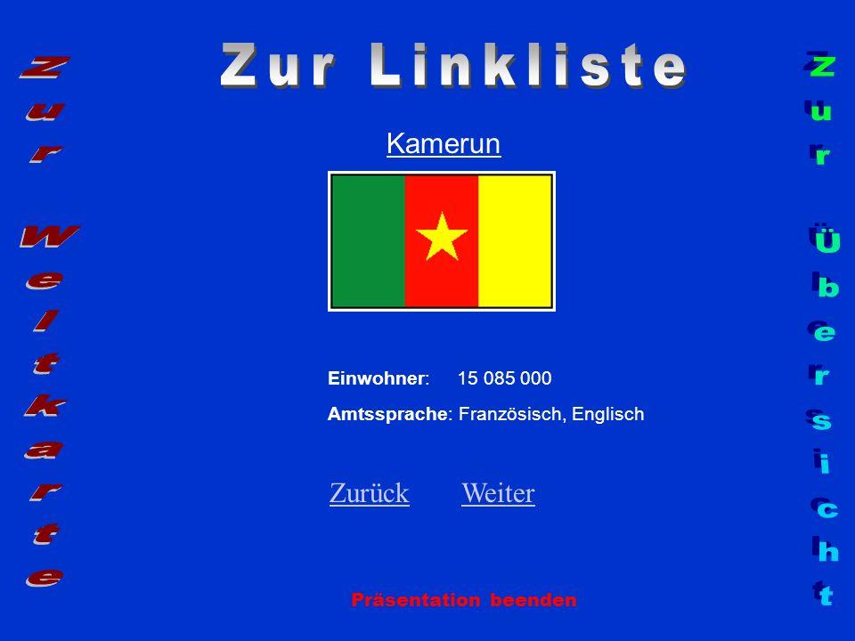 Zur Linkliste Zur Weltkarte Zur Übersicht Kamerun Zurück Weiter