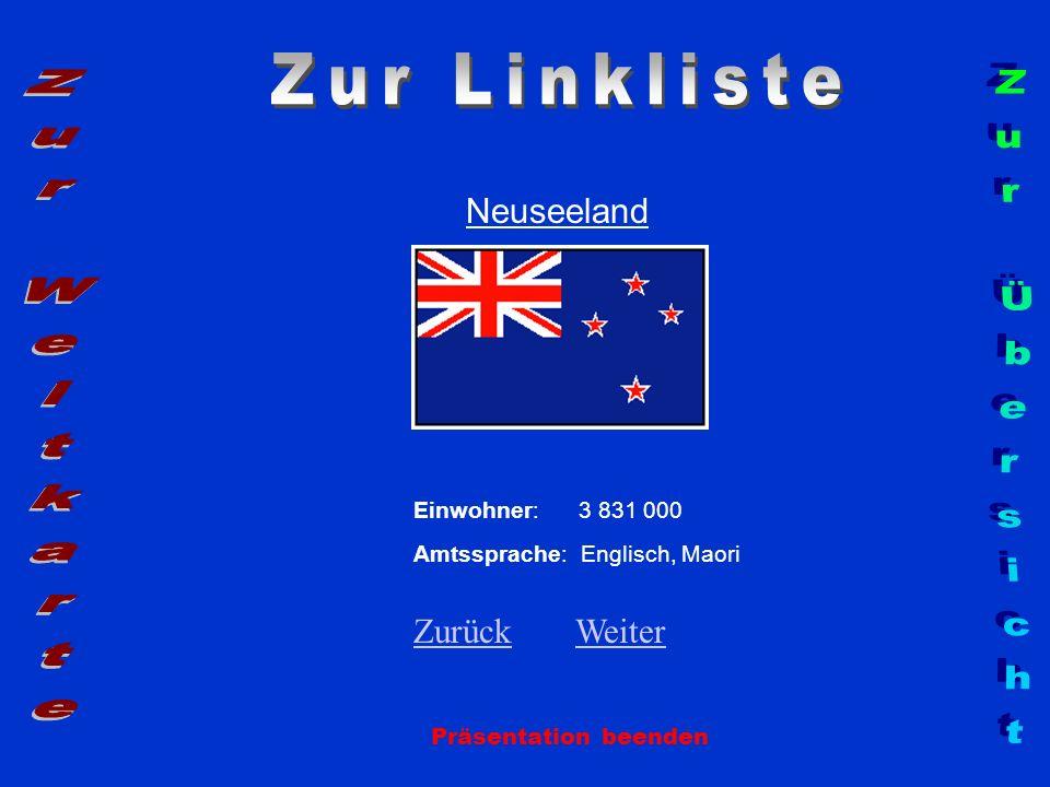 Zur Linkliste Zur Weltkarte Zur Übersicht Neuseeland Zurück Weiter