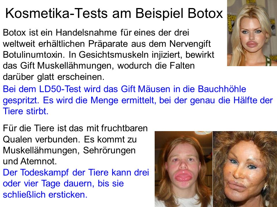 Kosmetika-Tests am Beispiel Botox