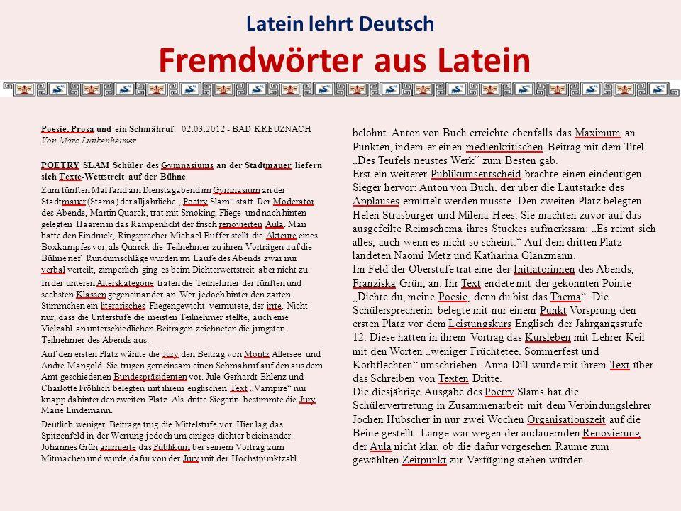 Latein lehrt Deutsch Fremdwörter aus Latein