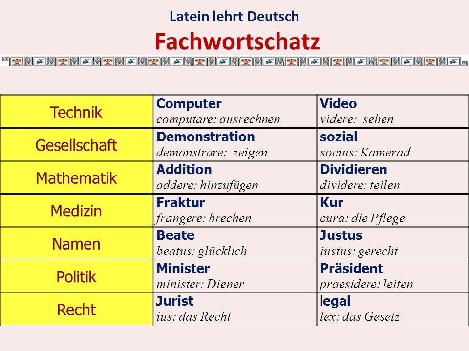 Latein lehrt Deutsch Fachwortschatz