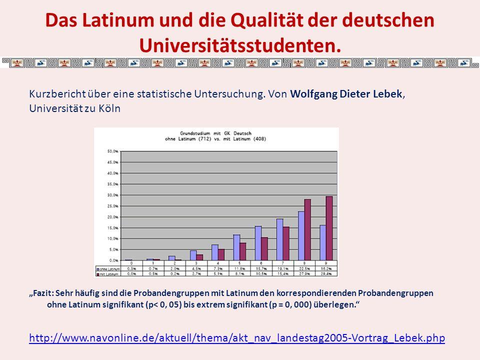 Das Latinum und die Qualität der deutschen Universitätsstudenten.