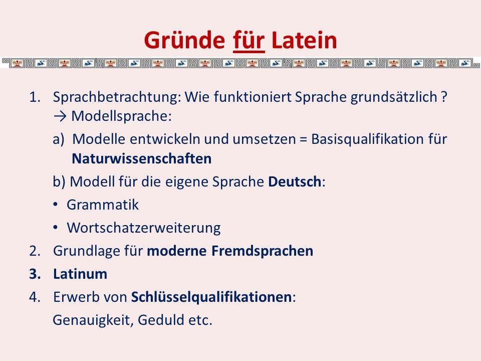 Gründe für Latein Sprachbetrachtung: Wie funktioniert Sprache grundsätzlich → Modellsprache: