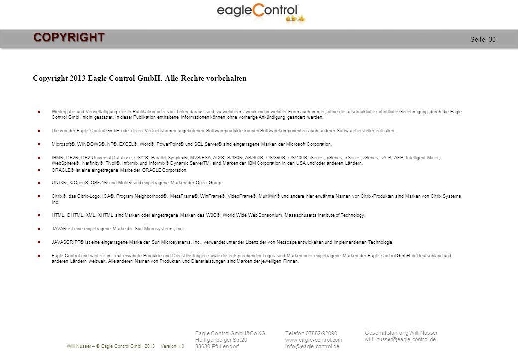Copyright 2013 Eagle Control GmbH. Alle Rechte vorbehalten