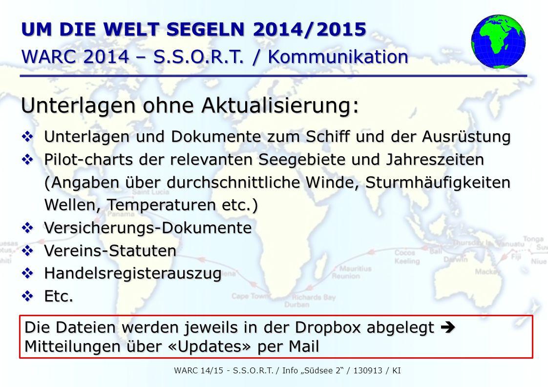 """WARC 14/15 - S.S.O.R.T. / Info """"Südsee 2 / 130913 / KI"""