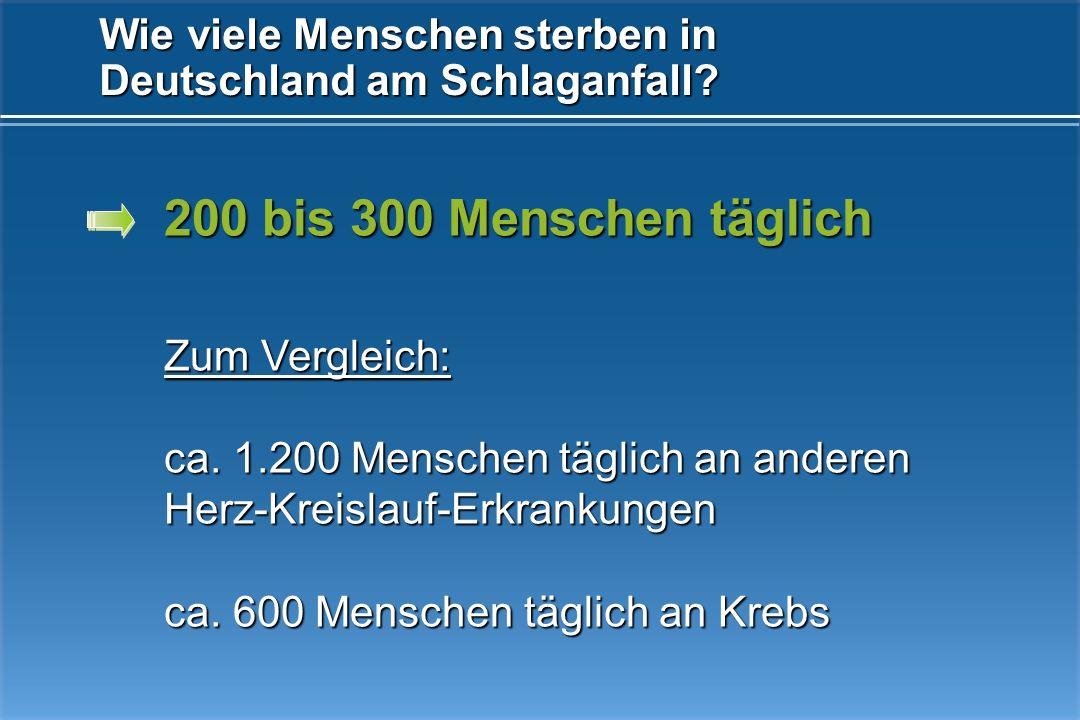 Wie viele Menschen sterben in Deutschland am Schlaganfall