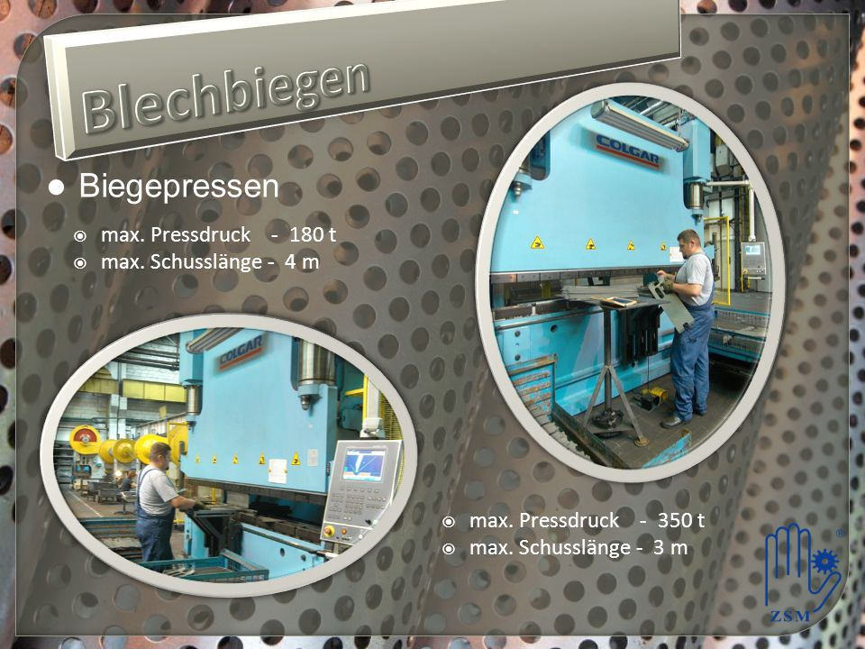 Blechbiegen Biegepressen max. Pressdruck - 180 t