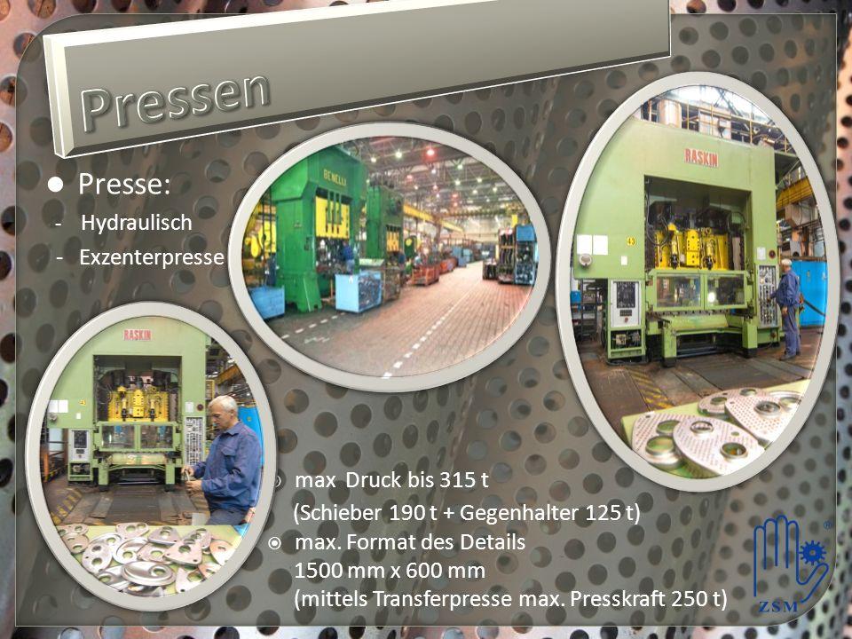 Pressen Presse: (Schieber 190 t + Gegenhalter 125 t) - Exzenterpresse