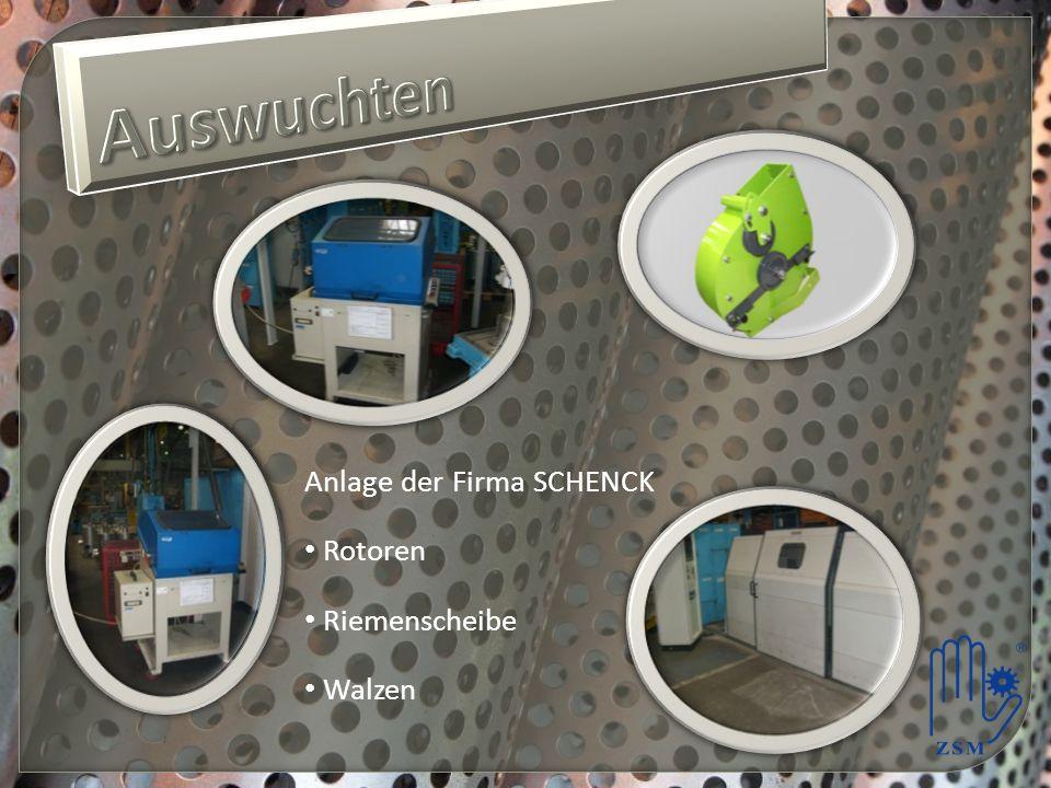 Auswuchten Anlage der Firma SCHENCK Rotoren Riemenscheibe Walzen