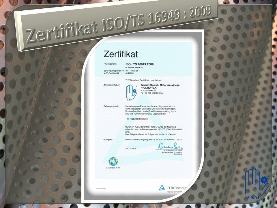 Zertifikat ISO/TS 16949 : 2009