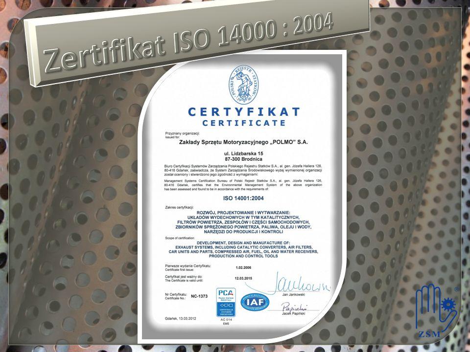 Zertifikat ISO 14000 : 2004
