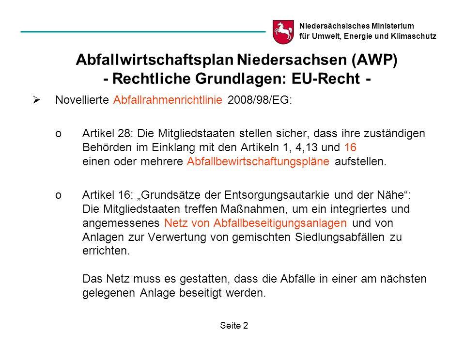 Abfallwirtschaftsplan Niedersachsen (AWP) - Rechtliche Grundlagen: EU-Recht -