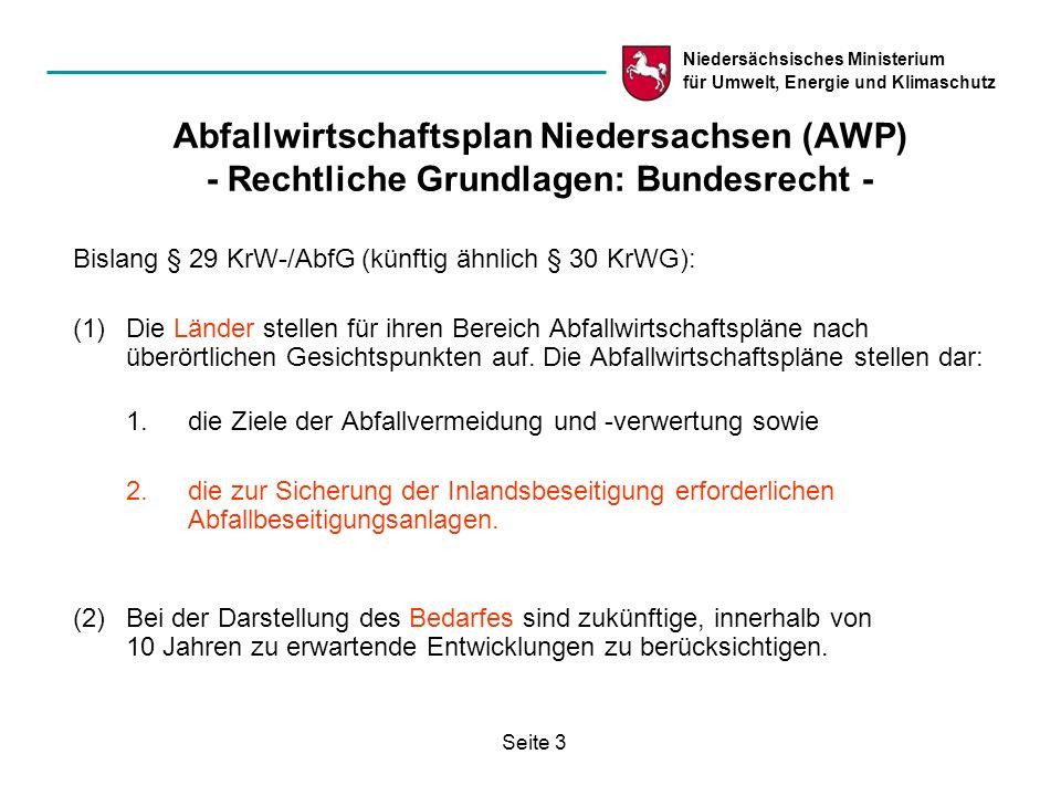 Abfallwirtschaftsplan Niedersachsen (AWP) - Rechtliche Grundlagen: Bundesrecht -