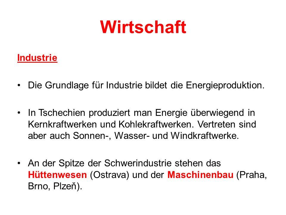 Wirtschaft Industrie. Die Grundlage für Industrie bildet die Energieproduktion.