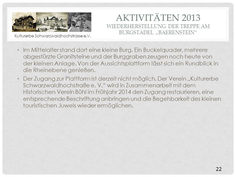 """Aktivitäten 2013 wiederherstellung Der treppe am Burgstadel """"baerenstein"""