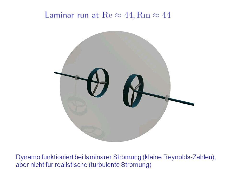 Dynamo funktioniert bei laminarer Strömung (kleine Reynolds-Zahlen), aber nicht für realistische (turbulente Strömung)