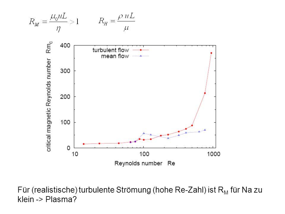 Für (realistische) turbulente Strömung (hohe Re-Zahl) ist RM für Na zu klein -> Plasma