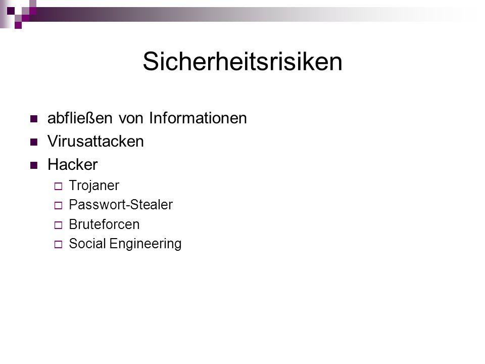 Sicherheitsrisiken abfließen von Informationen Virusattacken Hacker