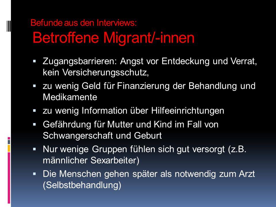 Befunde aus den Interviews: Betroffene Migrant/-innen