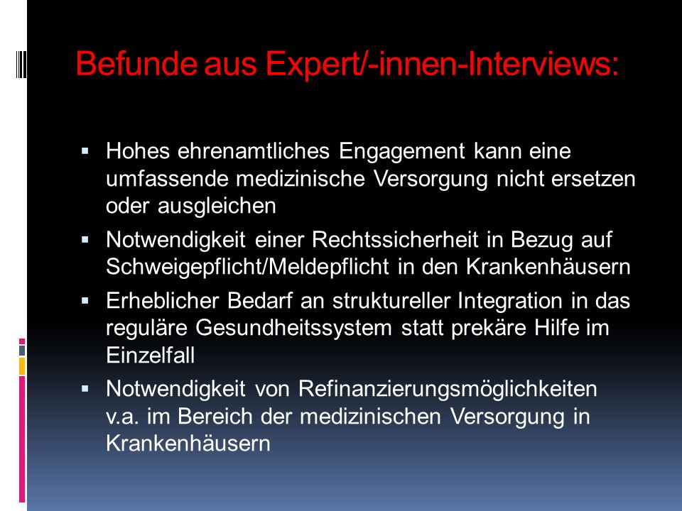 Befunde aus Expert/-innen-Interviews: