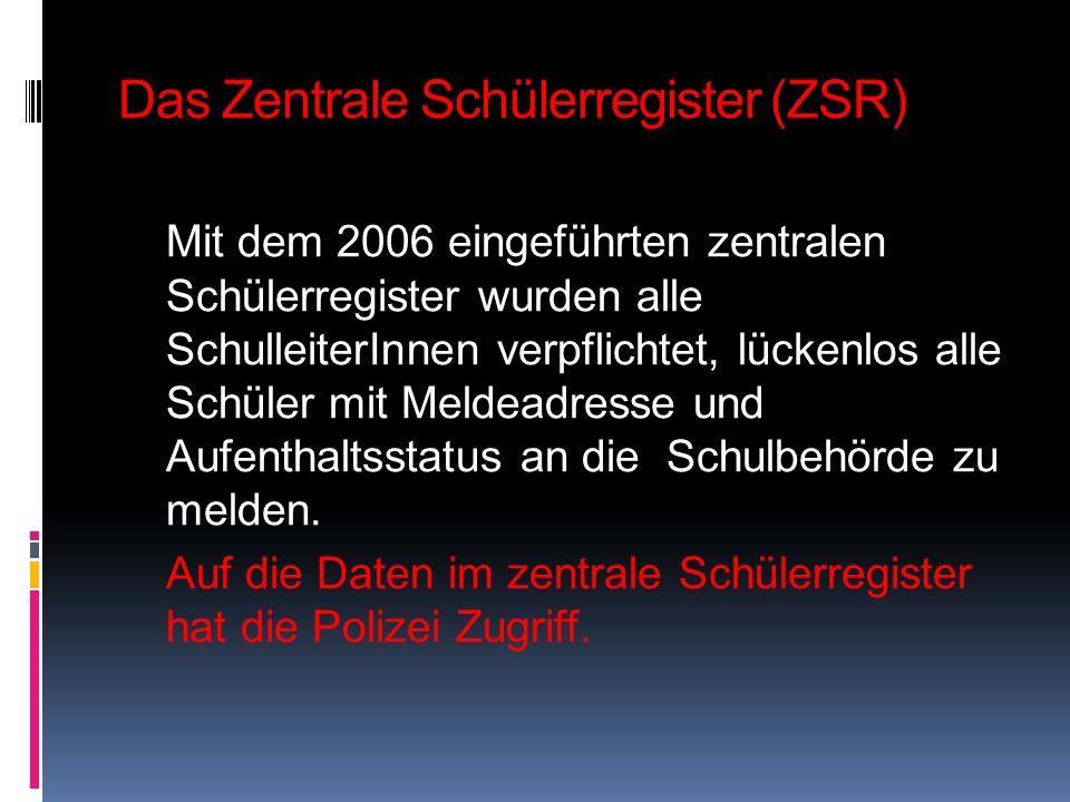 Das Zentrale Schülerregister (ZSR)
