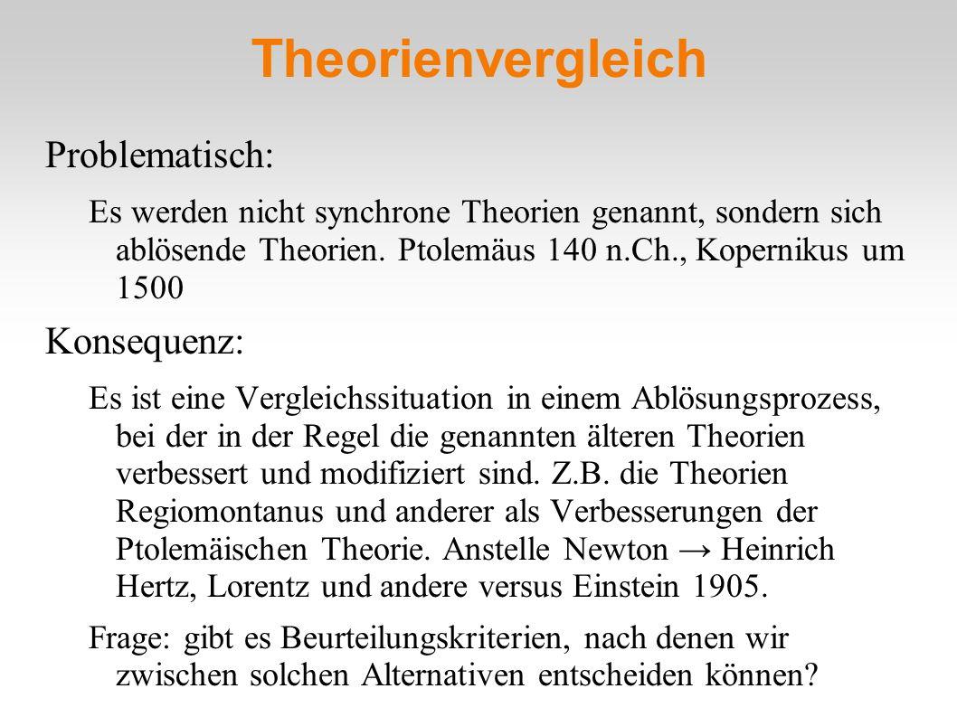 Theorienvergleich Problematisch: Konsequenz: