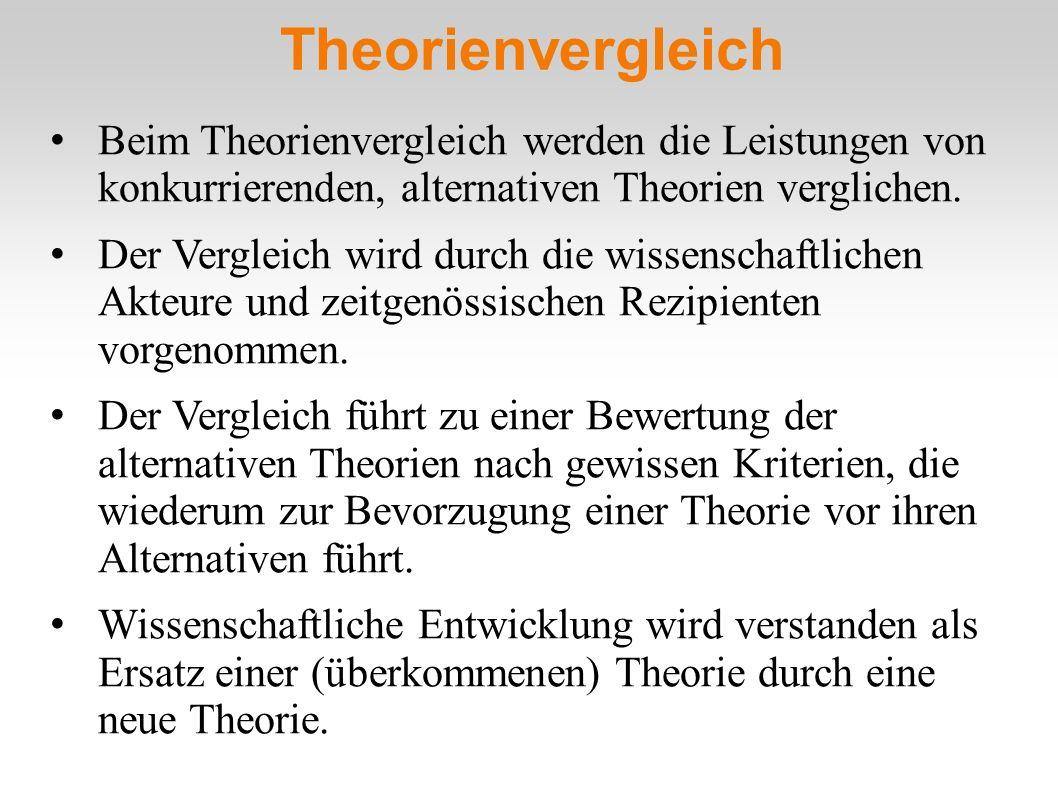 Theorienvergleich Beim Theorienvergleich werden die Leistungen von konkurrierenden, alternativen Theorien verglichen.