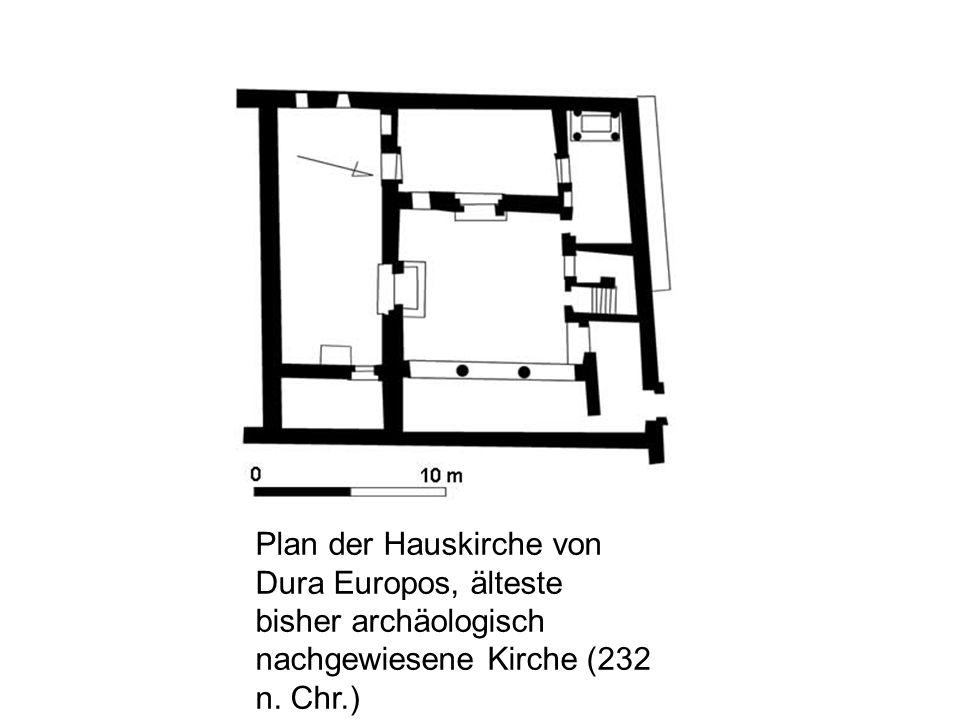 Plan der Hauskirche von Dura Europos, älteste bisher archäologisch nachgewiesene Kirche (232 n.