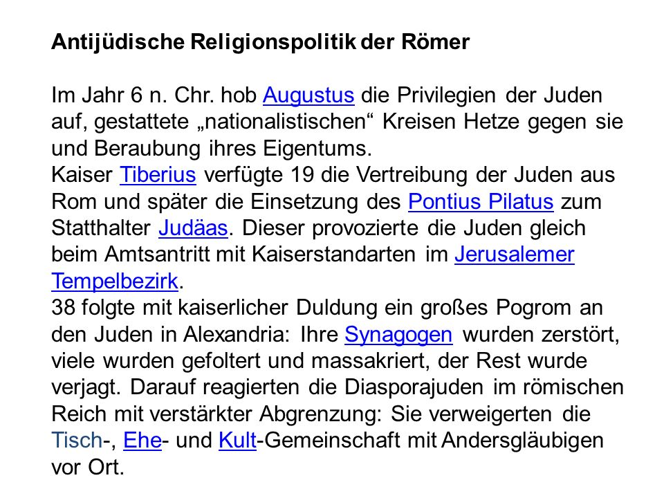 Antijüdische Religionspolitik der Römer