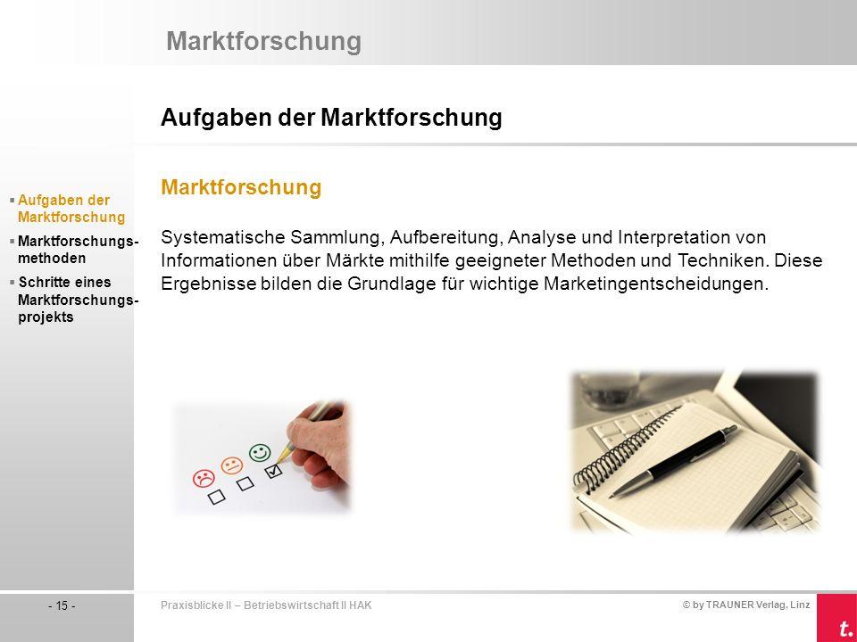 Marktforschung Aufgaben der Marktforschung Marktforschung