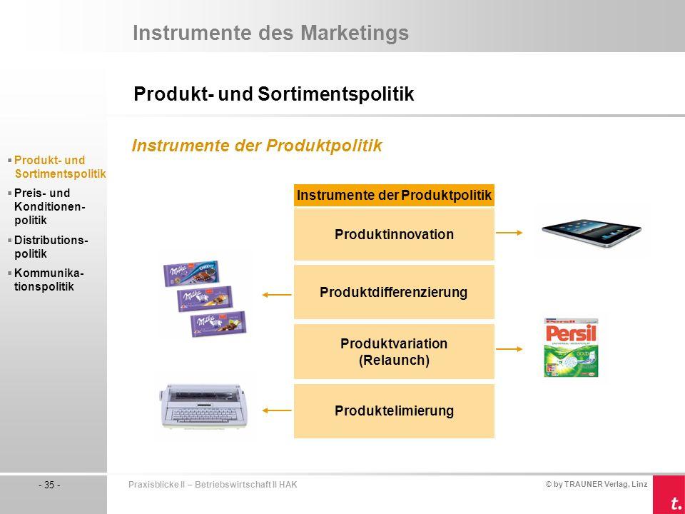 Instrumente der Produktpolitik Produktdifferenzierung