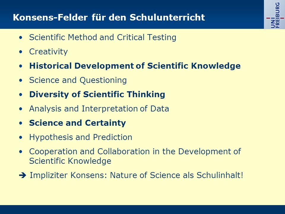 Konsens-Felder für den Schulunterricht
