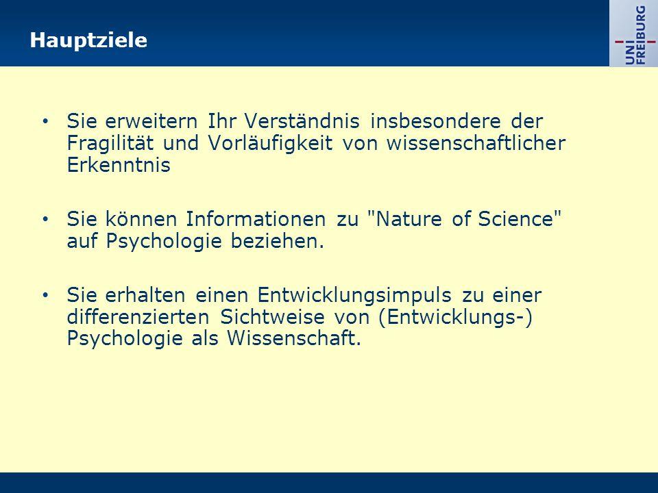Hauptziele Sie erweitern Ihr Verständnis insbesondere der Fragilität und Vorläufigkeit von wissenschaftlicher Erkenntnis.