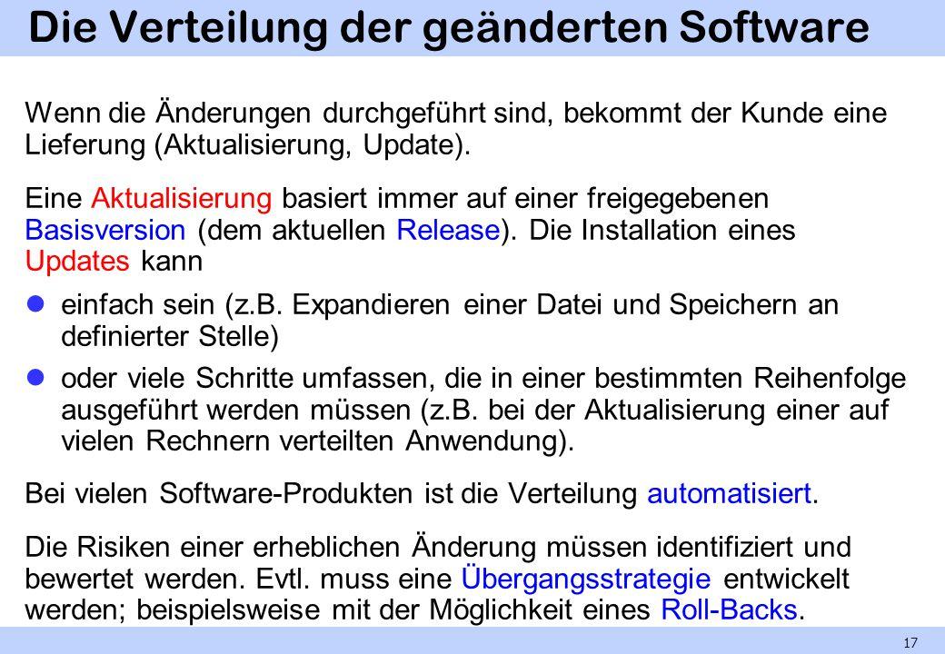 Die Verteilung der geänderten Software