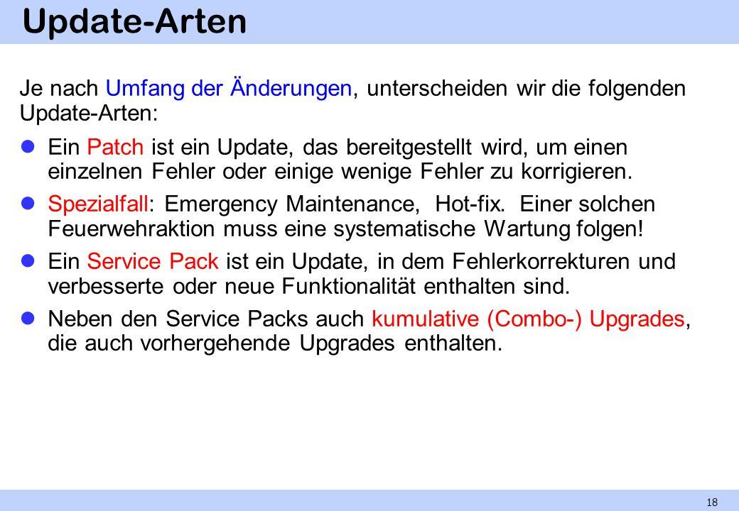 Update-Arten Je nach Umfang der Änderungen, unterscheiden wir die folgenden Update-Arten: