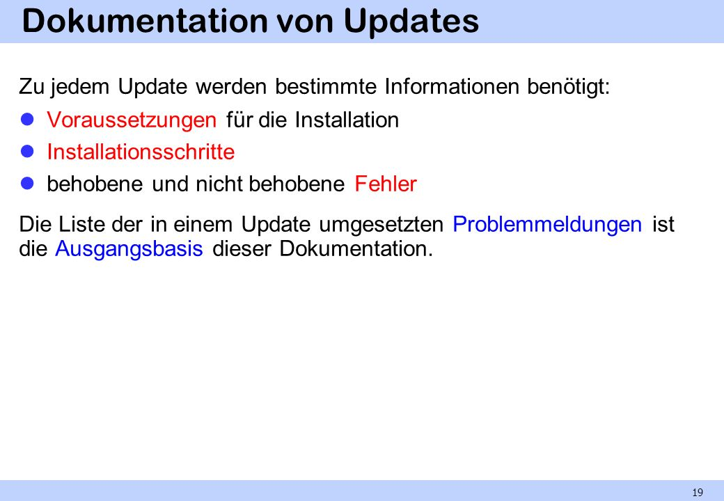 Dokumentation von Updates