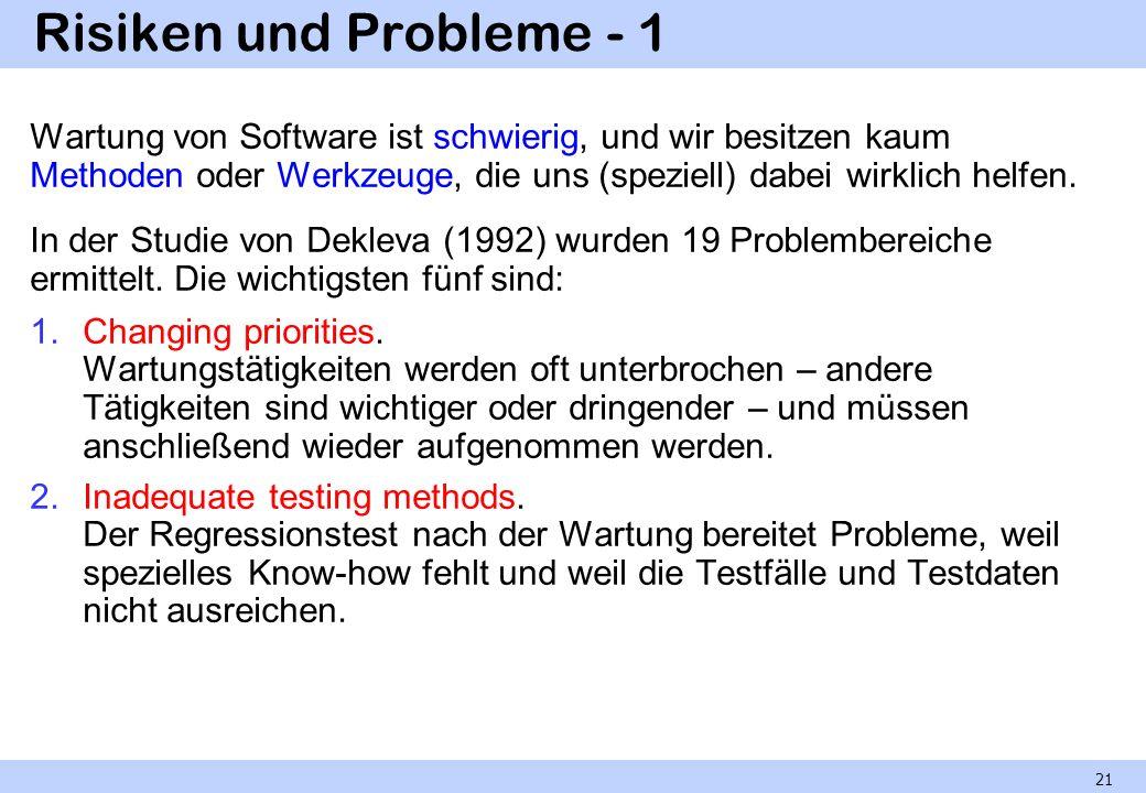 Risiken und Probleme - 1