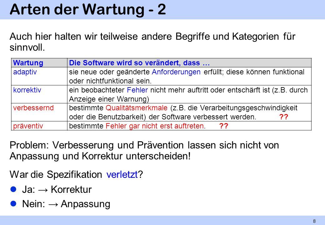 Arten der Wartung - 2 Auch hier halten wir teilweise andere Begriffe und Kategorien für sinnvoll. Wartung.