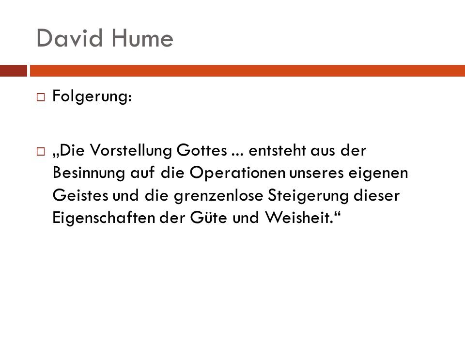 David Hume Folgerung: