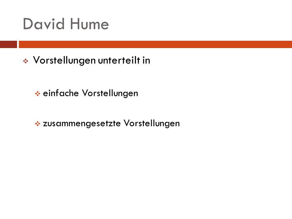 David Hume Vorstellungen unterteilt in einfache Vorstellungen