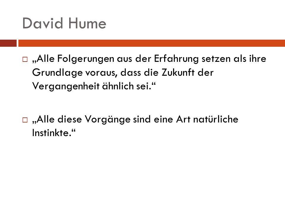 """David Hume """"Alle Folgerungen aus der Erfahrung setzen als ihre Grundlage voraus, dass die Zukunft der Vergangenheit ähnlich sei."""