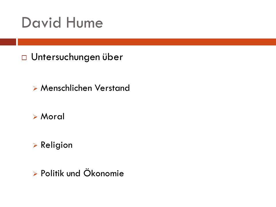 David Hume Untersuchungen über Menschlichen Verstand Moral Religion